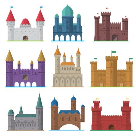 Vector set of old flat medieval castles