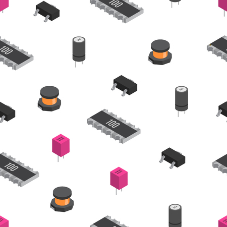 Vector seamless pattern of izometric electronic components. Capa