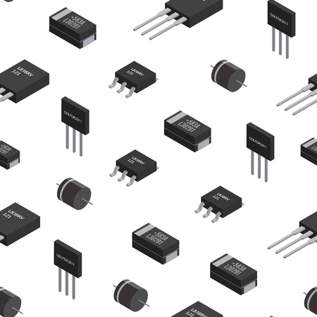 A Vector seamless pattern of izometric electronic components.