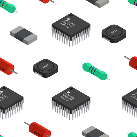 A Vector seamless pattern of izometric electronic components. Capa Çizim
