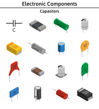 Vector set of izometric electronic components. Capacitors. Ilustrace