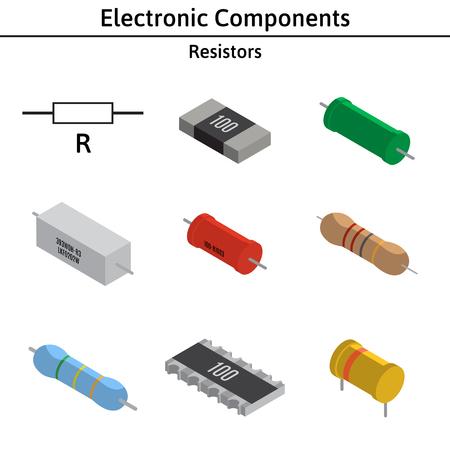 Vector set of izometric electronic components. Resistors.
