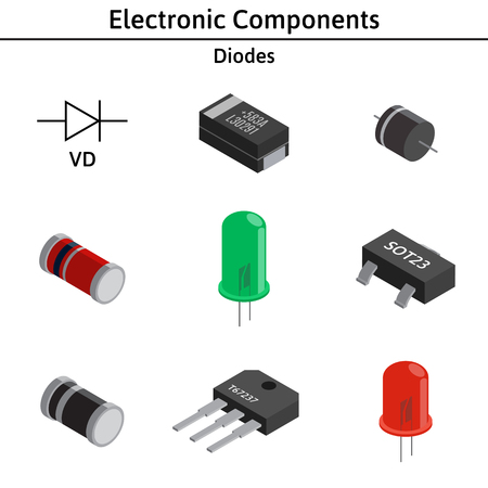 A Vector set of izometric electronic components. Diodes. Ilustrace