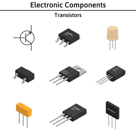 Vector set of izometric electronic components. Transistors.