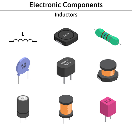 A Vector set of izometric electronic components. Inductors.