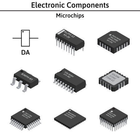A Vector set of izometric electronic components. Microchips. Ilustrace