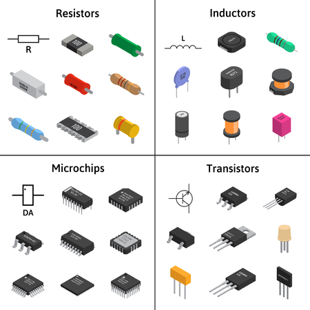Vector set of izometric electronic components.  イラスト・ベクター素材