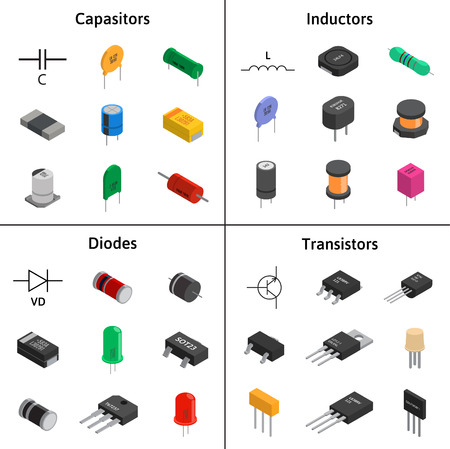 Vector set of izometric electronic components. Capacitors, diode