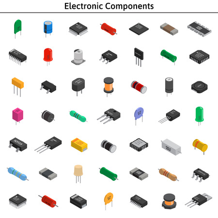 Groot vector set izometrische elektronische componenten. Condensatoren, r