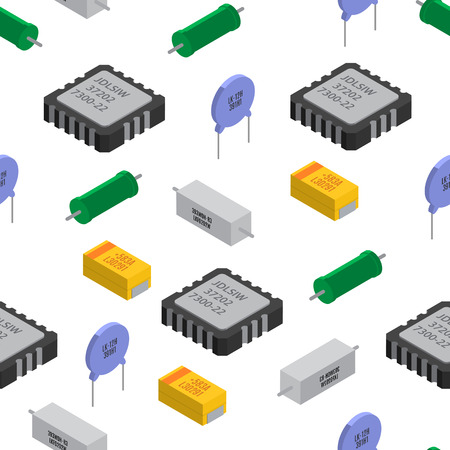 Vector seamless pattern of izometric electronic components.
