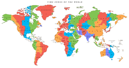 Wektor szczegółowa mapa świata ze strefami czasowymi