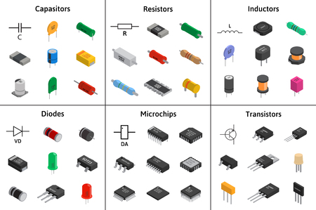 Big vector set of izometric electronic components. Capacitors, r
