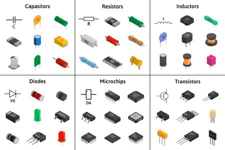 Big vector set of izometric electronic components. Capacitors, r