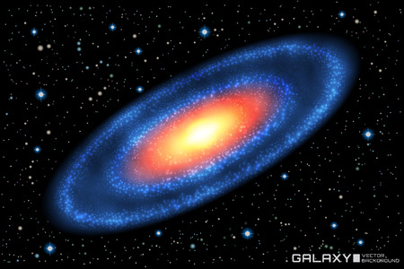 Vector illustration of realistic spiral galaxy on star cosmic background. Galaxy template.