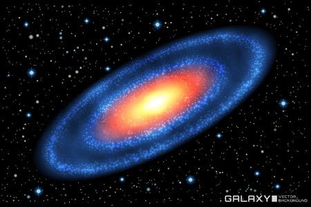 Vector illustration of realistic spiral galaxy on star cosmic ba