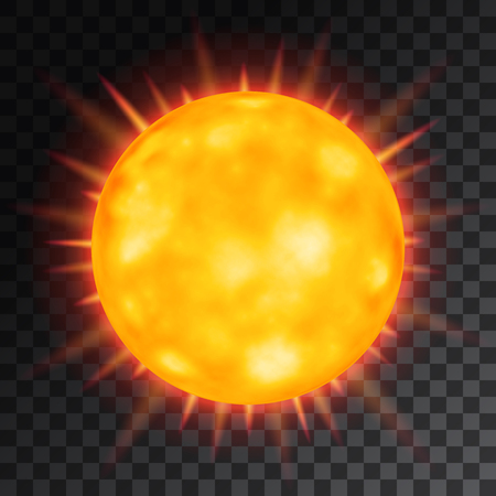 Vector orange beautiful sun on transparent background.