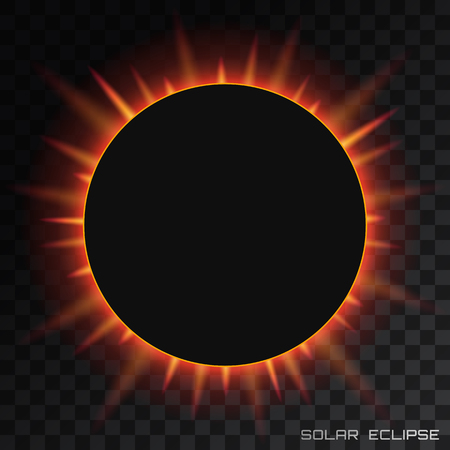 Vector total solar eclipse on transparent background.