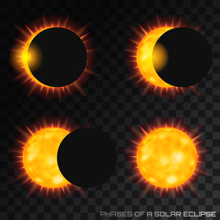 Vector phases of the total solar eclipse on transparent backgrou