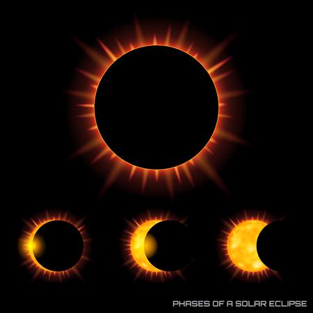 Fases do vetor do eclipse solar total no fundo escuro. Foto de archivo - 93386391