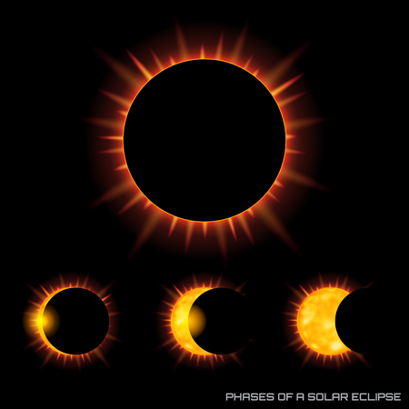 Vector phases of the total solar eclipse on dark background. Ilustração