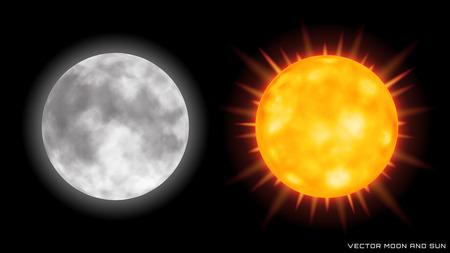 Vector realistic moon and sun on dark background. 일러스트