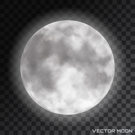 Vector realistic beautiful moon with glow effect on transparent background.  イラスト・ベクター素材