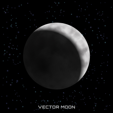 Vector moon on cosmic background with stars.