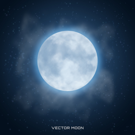 Vector realistic beautiful moon with glow effect on cosmic backg