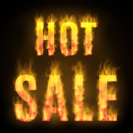 Hot sale design with fire. Realistic vector illustration.