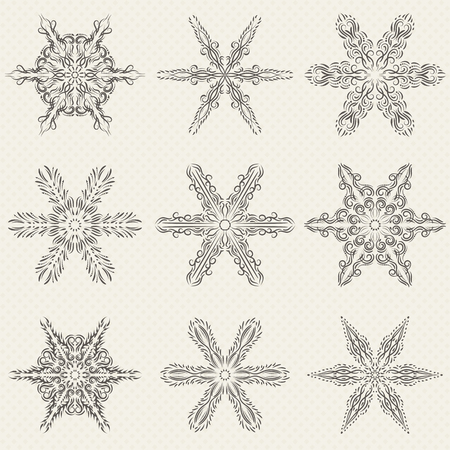 Vector set of vintage snowflakes  イラスト・ベクター素材