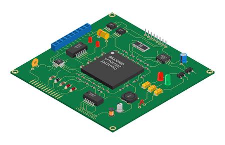 Placa de circuito impreso de vector isométrico con componentes electrónicos Ilustración de vector
