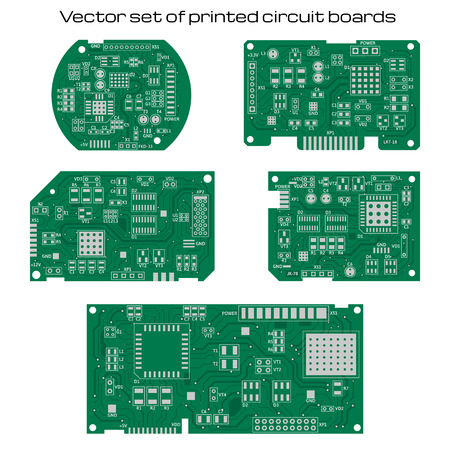 Vector set of detailed printed circuit boards