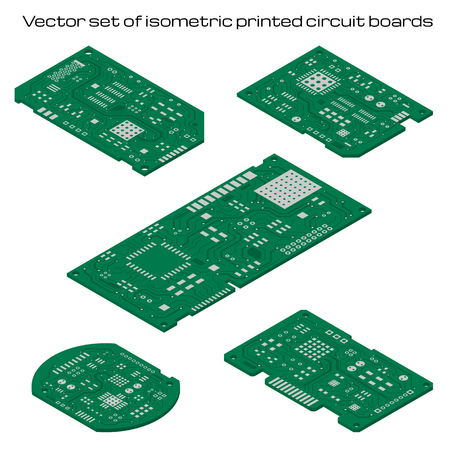 Vector set of isometric printed circuit boards