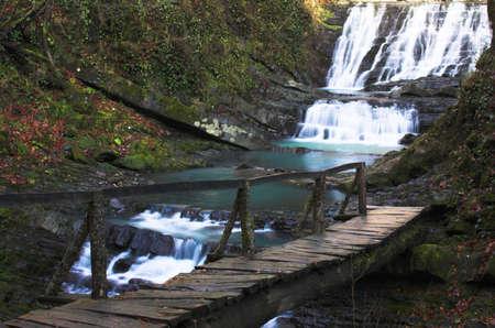 Waterfall with the wood bridge Stock Photo - 357839