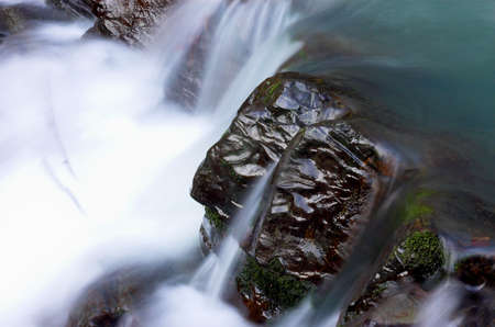 Waterfall stream and big stone Stock Photo - 357837