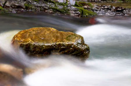 Waterfall stream and big stone Stock Photo - 357835