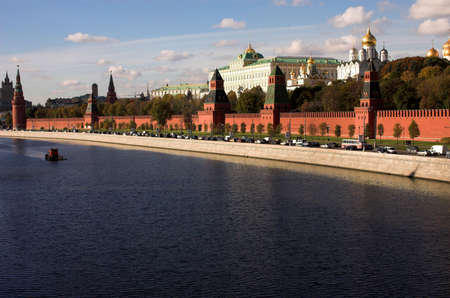 Moskva river, Kremlin wall, Annunciation cathedral and Assumption cathedral, Russia, Moscow photo