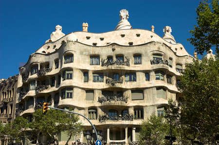 worthy: La Pedrera, Antoni Gaudi, Barcelona, Spain Stock Photo