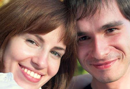 Smiling couple close-up Stock Photo