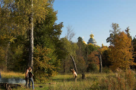 People and snags near church in New Jerusalem near Istra, Moscow region, Russia photo