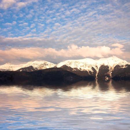 Rocky mountain landscape near the lake, Sochi, Russia photo