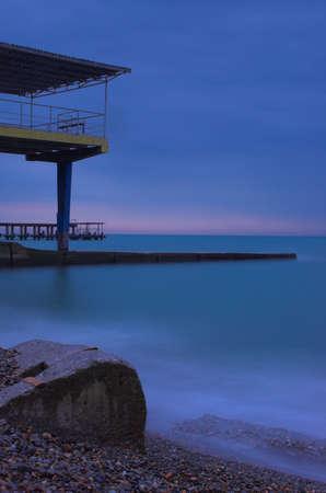 Sea pier in thr Black sea, Sochi, Russia photo