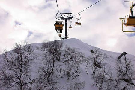 Funicular in winter mountains, Red Polyana, Sochi, Russia Stock Photo - 614943