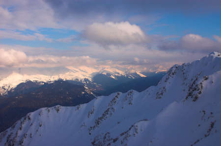 Panoramic  landscape with mountains, Red Polyana, Sochi, Russia Stock Photo - 614945