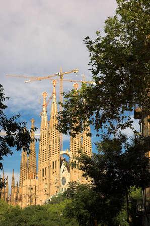 barsa: Sagrada familia in Barcelona by Antoni Gaudi, Catalunia, Spain - vertical