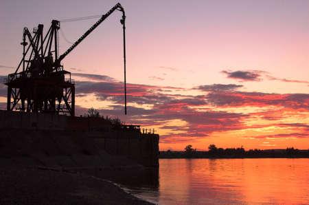 Crane on riverside in Perm, Russia Stock Photo - 672667