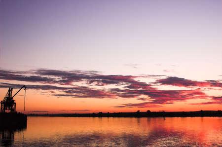 Crane on riverside in Perm, Russia photo