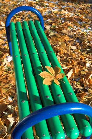 Green bench in the autumn park Stock Photo - 672663