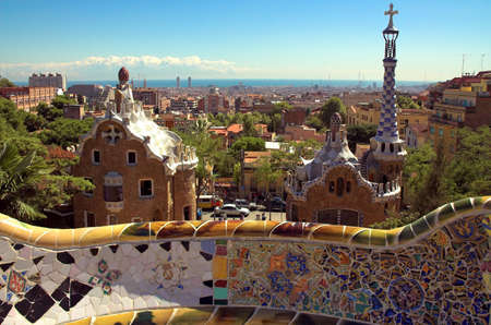 guell: Ceramic mosaic in Park guell, Barcelona, Spain Stock Photo