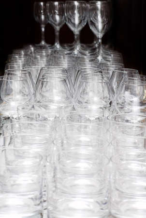 Many glasses on the table, b&w